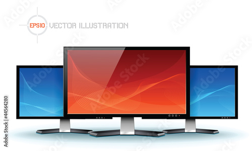Flat lcd tv monitor, detailed vector