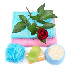 Towel, soap and sponge.