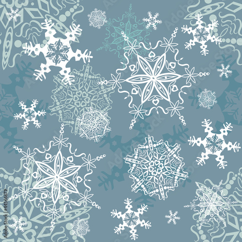 Snowflakes seamless background - Christmas theme, vector eps8