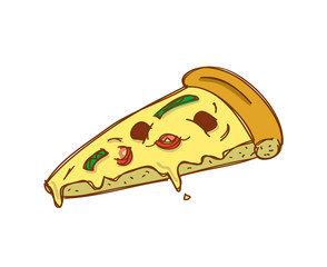 slice of pizza in doodle style