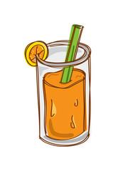 orange juice in doodle style