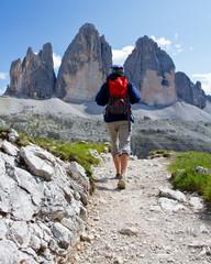 Tourist on  hike, Tre Cime di Lavaredo  - Dolomite - Italy