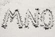 Sand beach alphabet: letters M, N, and O