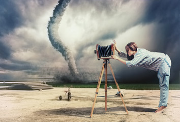 photographer and tornado