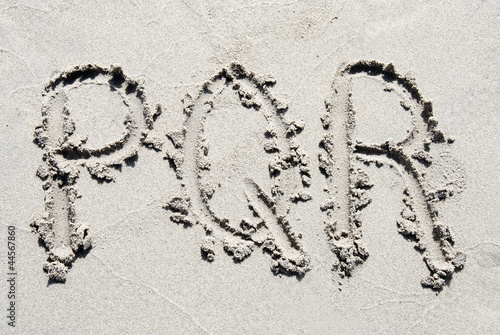 Sand beach alphabet: letters P, Q  and R