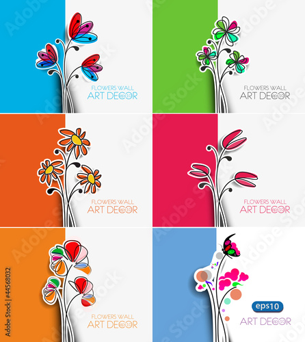 six flower design element background.