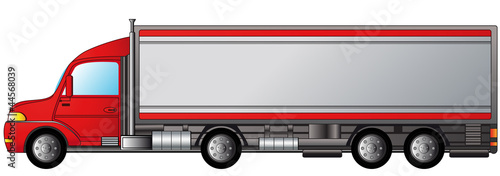 isolated heavy truck with space for text