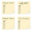 Sticky notes with check lists