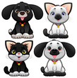 Cute dogs and cats. Vector isolated characters
