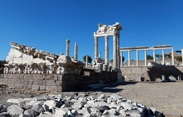 View of Acropolis in Pergamon, Turkey.