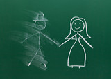 marriage couple drawing on chalk board divorce break up smudged