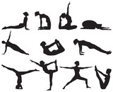 Fototapety Silhouettes of yoga positions on white background