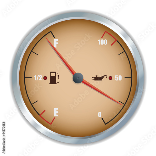Retro fuel and oil gauge icon.