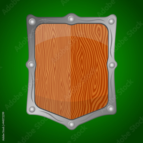 Wooden shield offering protection on green background