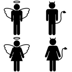 Angel and devil pictograms
