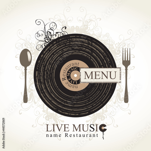 musical cafe menu with cutlery