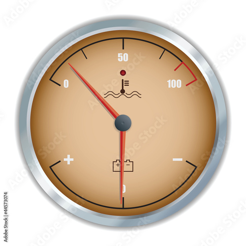 Retro motor temperature and voltage gauge icon