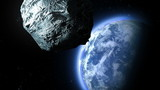 asteroid flies to the Earth, 3d animation