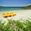 Paddle boats on white sandy beach and emerald sea