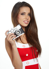 isolated studio picture from a young and beautiful woman with re