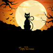 Vector Illustration of a Halloween Background with a Black Cat