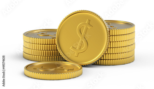 Pile or stack of golden dollar coins