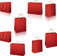 Red paper shopping bag on white