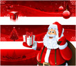 Red Christmas banners and Santa Claus