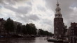 Amsterdam canalboats and Montelbaans Tower timelapse