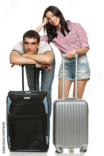 Young couple waiting for departure, anxious for leaving