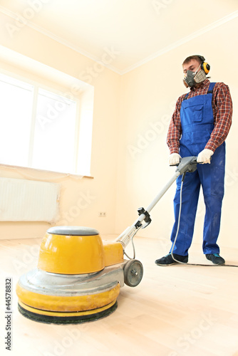 Parquet Floor maintenance by grinding machine