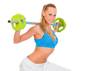 sporty young woman with weights, white background
