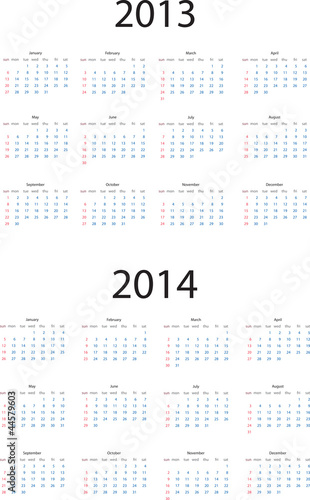 Editable vector calendar for 2013 and 2014