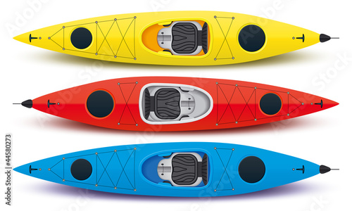 illustration of colored kayaks