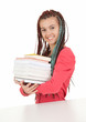trendy student girl in ethnic hairstyle with books