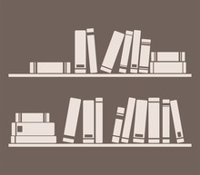 Książki na półce wnętrz projektowania ilustracji wektorowych rocznika