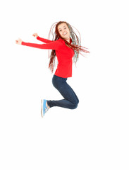 jumping happy teen girl, full length