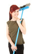 young woman with sweeping brush, white background