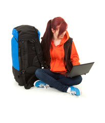 backpacker girl with laptop, full length