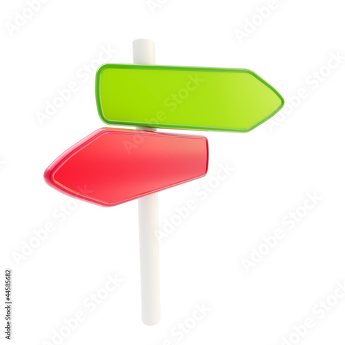 Red green signpost copyspace empty plates