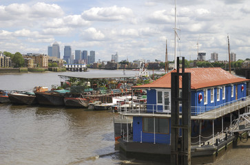View to Canary Wharf from Southwark. London. UK