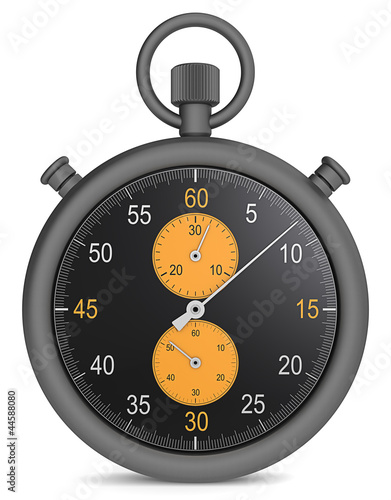 Precision. Abstract Stopwatch in matte black metal and orange.