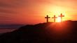 Leinwanddruck Bild - 3 Kreuze am Hügel bei Sonnenuntergang