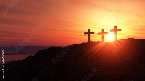 Fotobehang Begraafplaats 3 Kreuze am Hügel bei Sonnenuntergang