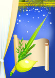 Happy Sukkot with palms,stars,curtain