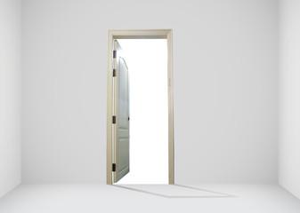 Opened door with white screen