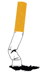A silhouette of a smoking cigarette