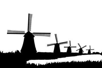 A silhouette of windmills in Kinderdijk, Holland