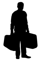 A silhouette of a mature man holding suitcases