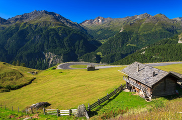 Alpine road with mountain hut, Austria